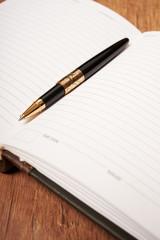 gold pen and diary closeup