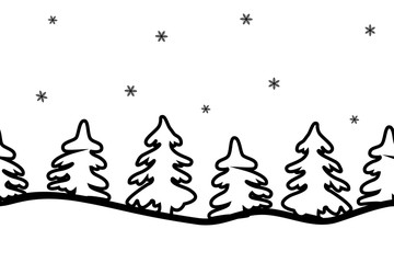 Silhouettes of fir trees on a white background. Seamless sample of a border. Vector illustration. It can be used for Christmas and New Year decoration, websites, packing, fabrics