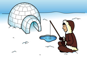 Colored coloring page - Eskimo with igloo