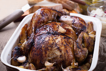 Homemade whole roasted chicken