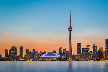 Printed roller blinds Canada Toronto Skyline at twilight
