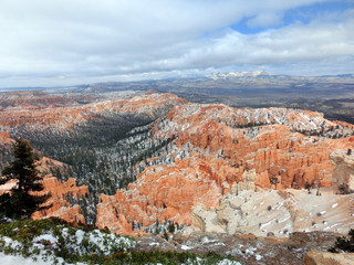 Bryce Canyon National park during winter with snow landscape