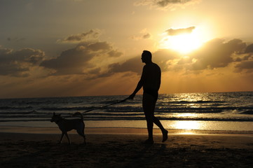 Man with a dog walking on beach at sunset