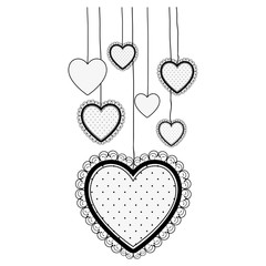 decorative hanging heart cartoon icon image vector illustration  design