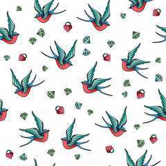 Vector seamless pattern with old school tattoos. Swallows, heart lock, diamond.