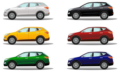 Set of luxury crossover vehicles in a variety of colors.