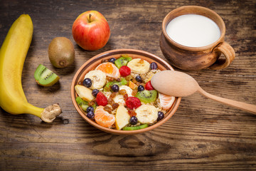 Healthy nutrition background with oatmeal and fruits