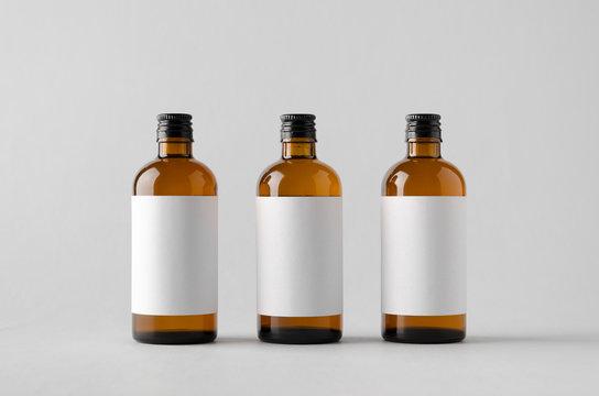 Pharmaceutical Bottle Mock-Up - Three Bottles. Blank Label