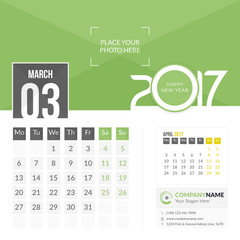March 2017. Calendar for 2017 Year. 2 Months on Page. Vector Design. Template with Place for Photo and Company Logo