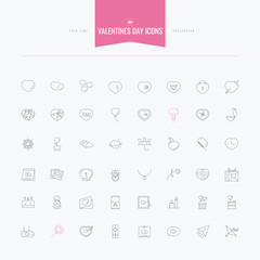 Thin and line icons set of  Love, Romantic, Relationship, Valentine Day and more flat design, vector illustration.