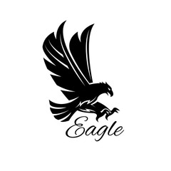 Eagle hawk vector black heraldic icon