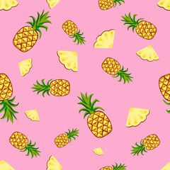 Fruits pineapple seamless patterns vector