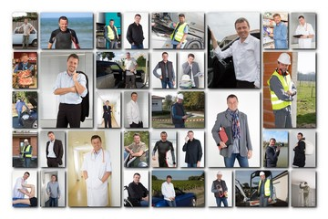 Collage of smart businesspeople, man at work