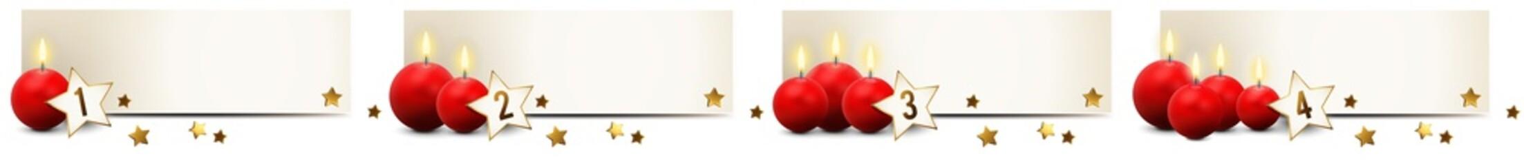Banner Set mit roten Advent Kerzen und Sternen