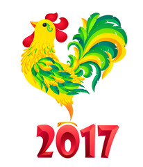 Green vector rooster in cartoon style - symbol of Chinese New Year