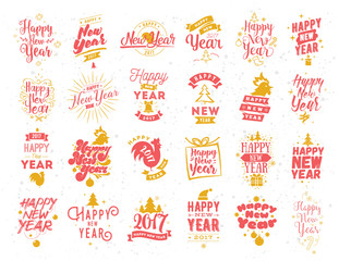 Autocollant pour porte Style Boho Happy New Year typographic emblems set.