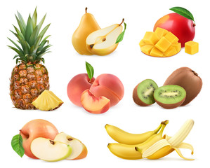 Sweet fruit. Banana, pineapple, apple, mango, kiwi fruit, peach, pear. Whole and pieces. Realistic illustration. 3d vector icons set