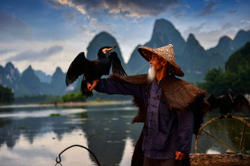 Tuinposter Guilin Fisherman of Guilin, Li River and Karst mountains during the blue hour of dawn,Guangxi China