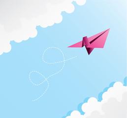 paper plane on blu sky