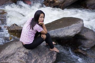 Thai woman with Mae Ya waterfall, Chiangmai Thailand