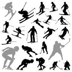 Skiing Speed Skating Hockey Winter Olympic Sport Silhouette