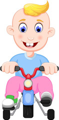 funny baby cartoon playing bicycle