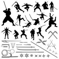 Ninja Samurai Movement Pose Silhouette - Sword Shuriken Weapons