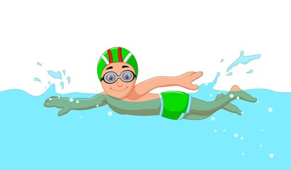 funny cartoon boy swimmer in the swimming pool