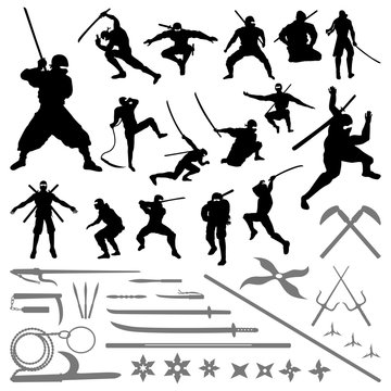 Ninja Samurai Movement Pose Silhouette - Sword Shuriken Weapons