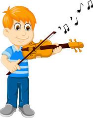 funny boy cartoon playing violin