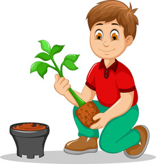 cute men cartoon move plant from the poly bag to pot