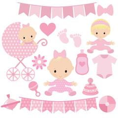 Baby girl vector cartoon  illustration