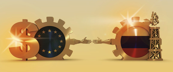 Image relative to gas transit from russia to turkey. Business Handshake. 3D rendering. Lens flare effect. Gold material of a gears. Russian and European Union flags on golden cog wheels.