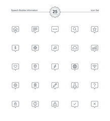 Speech bubble information icons set, Vector illustration