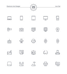 Electronic Gadget icons set, Vector illustration