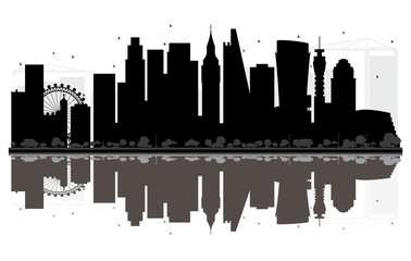 London City skyline black and white silhouette with Reflections.