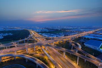 Evening highway overpass