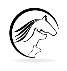 Logo horse cat and dog vector image