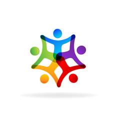 Logo teamwork holding hands business people vector
