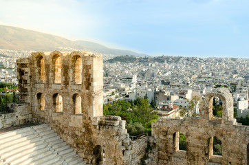 A part of Odeon of Herodes Atticus in Acropolis,Athens,Greece