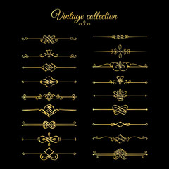 Gold calligraphic page dividers. Vector golden flourishes page decoration vignettes