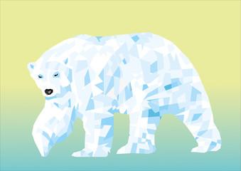 landfill polar bear in the background. Vector
