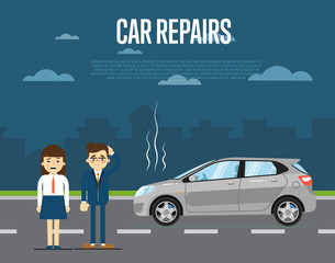 Car repairs concept with people couple standing near broken car on road vector illustration. Concept for automobile repair service. Road accident. Car trouble. Urban cityscape background. Flat design