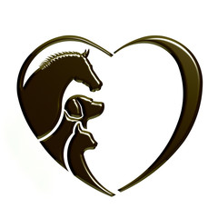 Veterinarian Heart animal love. Horse,dog and cat together. Abstraction of animal care This icon serves as idea of friendly pets, veterinarian business, animal welfare,animal rescue,animal breeder