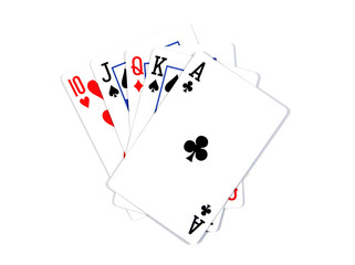 Playing cards - isolated on white background.Royal flush. Playin