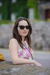 Beautiful brunette young woman wearing dress