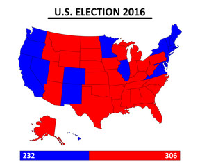 USA election 2016 map vector
