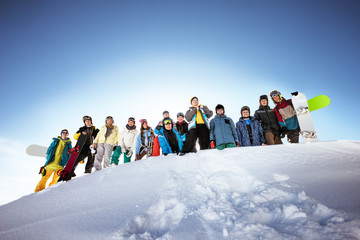 Group of skiers and snowboarders