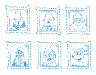 Vector hand drawn frames with portrait of christmas cartoon characters