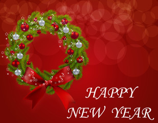 Christmas wreath on a postcard. Green branch of fir tree with red and silver baubles on a red background. Happy New Year. illustration